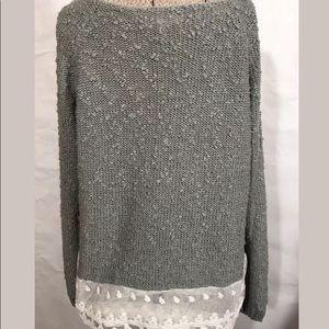 Monteau Los Angeles Back Lace Trim Sweater